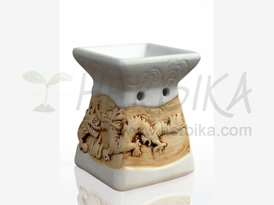 Aroma Lamp – Bas-relief Dragons, white