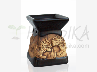 Aroma Lamp – Bas-relief Dragons, black