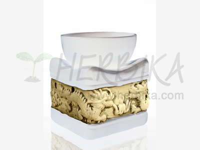 Aroma Lamp – Bas-relief Dragons, white square