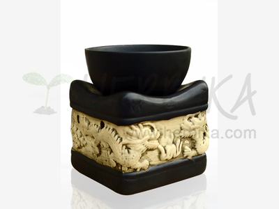 Aroma Lamp – Bas-relief Dragons, black square