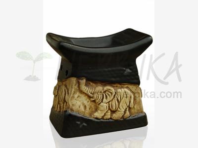Aroma Lamp – Bas-relief Elephant, black